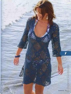 swim cover up pattern in French with diagram (tunique marine aux motifs carrés).guess I will be using Babelfish to translate this one. Pull Crochet, Crochet Tunic, Crochet Clothes, Crochet Lace, Russian Crochet, Crochet Dresses, Crochet Tops, Irish Crochet, Knit Dress