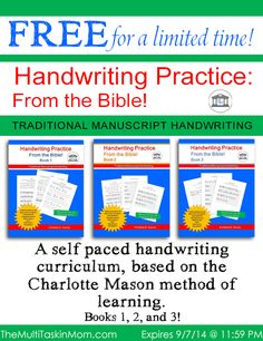 Through September 7, 2014, you can download Books 1-3 of Handwriting Practice From the Bible for free.