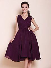 Bridesmaid Dress Knee Length Chiffon A Line Pri... – USD $ 61.59