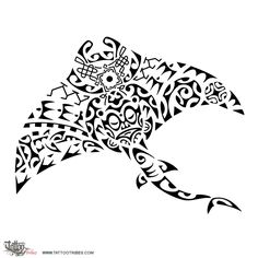 Manta ray. Sea bound.  This manta ray tattoo was designed for Michiel and it includes some Arabic styled motifs near its mouth to recall the time he spent in the Middle East. The ani ata motif nearby represents[...]  http://www.tattootribes.com/index.php?newlang=English&idinfo=7502