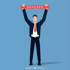 Businessman with Success Ribbon Free Vector