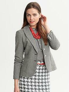 Houndstooth is all the rage this fall, and we just love this houndsooth skirt and blazer from Banana Republic - plus, you can pair the blazer with jeans for a chic date night or weekend look. Fashion bras are perfect for blazers because they give you great shape...No t-shirt bras required!