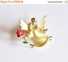 Angel Pin Brooch signed Gusti Gold Tone Red Rose Gift for Her Vintage Christmas Jewelry Mothers Day Birthday