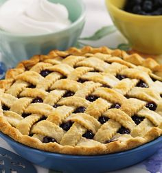 Can you guess this American classic: fresh blueberries, with hints of #cinnamon & lemon, cuddled between two soft piecrusts? Yes, it's the #blueberry #pie