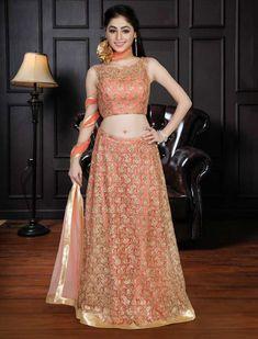 fb9c7e9b13ddb8 Peach hue raw silk lehenga choli for wedding - G3-GCS0311