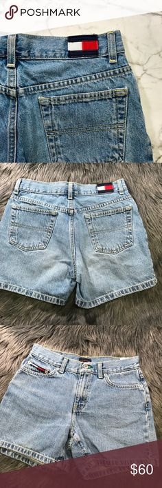 """Vintage tommy jeans shorts Waist: 14""""  Rise: 9""""  Inseam: 3"""" Tommy Hilfiger Shorts Jean Shorts"""
