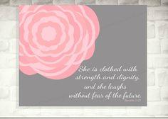 Ela está vestida com força e dignidade / Girl Impressão da arte do berçário / arte-de-rosa / parede / decoração obras de arte do quarto do bebê / crianças Arte / Provérbios 31:25
