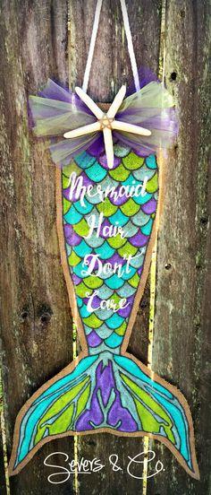 Mermaid Tales burlap door hanger- different pattern on tail Mermaid Room, Mermaid Tale, Mermaid Bathroom, Burlap Projects, Burlap Crafts, Wooden Crafts, Wood Projects, Painting Burlap, Door Crafts