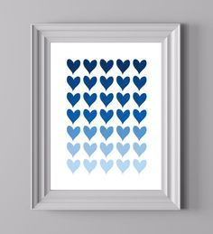 Pretty print with blue hearts. Heart Art, Love Heart, Valentines Day Hearts, Heart Shapes, Card Making, Art Prints, Blue Hearts, Unique Jewelry, Creative