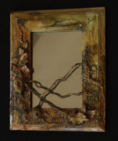 Handmade OOAK Mirror Nature Home Decor Forest Spirit Red Autumn Leaf Wood Frame Polymer Clay Sculpture Painted Watercolor Hippie Rustic