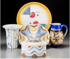 Lot: 65782: Five Spritzdekor Art Deco Ceramic Table Items, c, Lot Number: 65782, Starting Bid: $1, Auctioneer: Heritage Auctions, Auction: Art Deco and 20th Century Art -  #5314, Date: March 18th, 2017 MDT