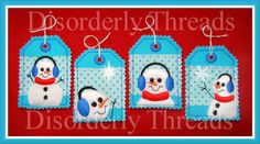 Christmas Snowman Tags Set ~ Disorderly Threads