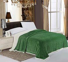 Elegance+Linen®+#1+Best+Seller+Sherpa+Blanket+on+Amazon+LUXURIOUS+Micro-Sherpa+Ultra+Plush+Solid+Blanket+,+King,+Green