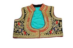 An epitome of elegance this waist coat style black jacket is a must have for a party wardrobe. The zero patti gota work adds a scintillating finesse to this stunning jacket. The dori, marodi, resham, pearl and sequin work ornate this awe inspiring piece.Don this jacket to give your wedding attendances a superlative touch paired with a splendid blue/ black/ red saree.