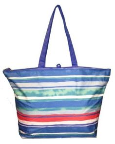 Huge Stripe Mesh Beach Bag Tote w/ Front Pocket & Zipper Pouch ...