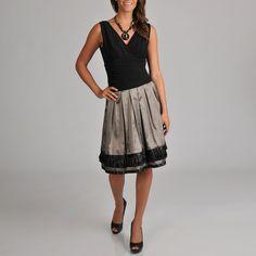 SL Fashions Women's ITY Top French Border Trim Dress | Overstock.com