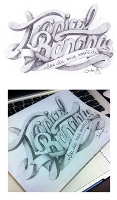 Lettering - TropicalBanana  Handmade. Just pencil, eraser and paper!