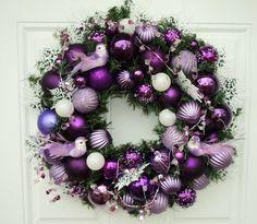 Purple Christmas Wreath with Purple Birds