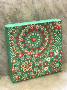Original Mandala Painting on Canvas, Dotilism, Dot Painting, DotArt, Aboriginal Art, Henna Meditation Art,Healing/Calming, Hand Painted Hand Painted with acrylic paint on stretched canvas. Sprayed multiple times with high gloss sealer to protect paint and aging. Colors are Mint, greens,
