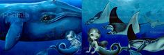 """Manta Ray Mermaid and Big Blue Whale set of TWO BIG art prints by Jasmine Becket-Griffith 17.75"""" x 12"""" sea ocean fish stingray fairy"""