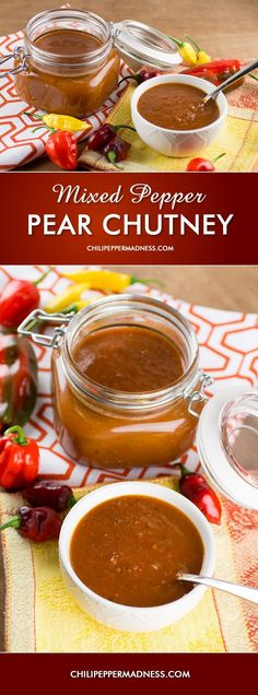 Mixed Pepper-Pear Chutney - a universal condiment - great breakfast spread, meat topping, stirred into soups or stews, or dip for fruit Cranberry Jelly Recipes, Pear Recipes, Indian Food Recipes, Rub Recipes, Vegetarian Recipes, Ketchup, Spicy Chicken Recipes, Grilled Chicken, Sauces