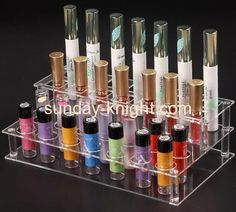 Customized acrylic makeup display retail display counters 3 tier acrylic display stand MDK-081