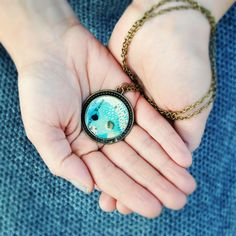Sea necklace  round bronze charm illustration and by ireneagh