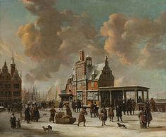 Jan Abrahamsz. Beerstraten: The Paalhuis and the New Bridge in Amsterdam in Winter (1640-1666)