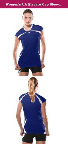 Women's UA Elevate Cap Sleeve Volleyball Jersey. Women's Volleyball Jersey, Cap Sleeve, Royal Blue/White.