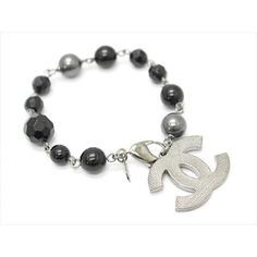 Pre-owned Chanel A37291 Silver Tone Hardware Black Stone Faux Pearl... ($485) ❤ liked on Polyvore featuring jewelry, bracelets, chanel, preowned jewelry, stone jewelry, chanel jewelry and stone jewellery