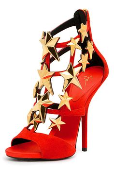 Giuseppe Zanotti red and gold stars heels