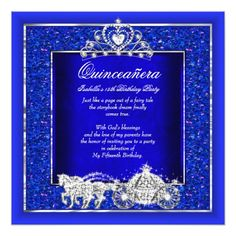 Quinceanera Birthday Horse Carriage Royal Blue Card