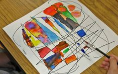 Take a waterproof black pen and draw a series of intersecting curves on a sheet of paper. Then fill in each shape with a color, ensuring that the same color doesn't butt up against itself. Camping Art, Art Painting, Elementary Art, Creative, Art, Art Journal, Art Tutorials
