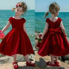 Cute Red Velvet Flower Girl Dress 2017 Tea Length Baby Girl Pageant Dresses Toddler Kids Party Dress Short Communion Gowns With Big Bow… (With images) Flower Girl Dresses Country, Toddler Flower Girl Dresses, Little Girl Dresses, Toddler Dress, Baby Dress, Flower Girls, Girls Pageant Dresses, Girls Party Dress, Dress Party