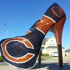 Obviously I need these :) - Chicago Bears. Custom Glitter Heels