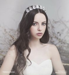 Viktoria Novak 2016 Bridal Couture Headpieces - World of Bridal Female Character Inspiration, Fantasy Photography, Crown Headband, Brass Color, Bridal Headpieces, One Shoulder Wedding Dress, Wedding Hairstyles, Makeup Looks, Couture