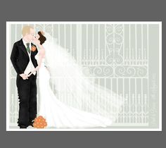 Custom illustrated wedding portrait www.hannahweeks.co.uk