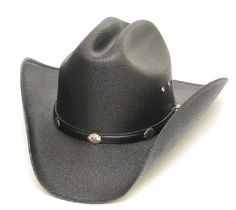 Black Cattleman Straw Hat with Silver Conchos and Elastic