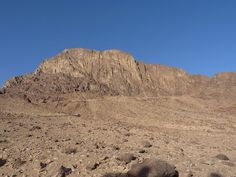 Mount Sinai seen from below. This is where Moses received the Ten Commandments from the Lord. This mountain is not only important for Christianity, but for Judaism and Islam, as well.
