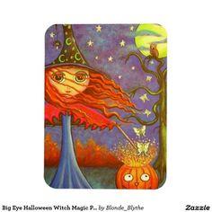 Big Eye Halloween Witch Magic Pumpkin Luna Moths Rectangular Photo Magnet