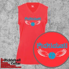 a246e581268 Pickleball shirt: Winged pickleball in hot coral color. Badger Sports,  style #4163