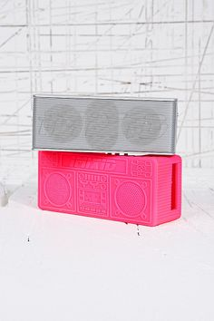 Bluetooth Boombox Speakers in Pink