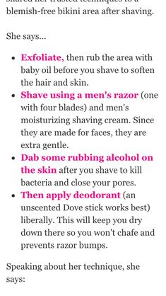 shaving bikini area tips Beauty Care, Beauty Skin, Beauty Hacks, Diy Beauty, School Looks, Skin Tips, Skin Care Tips, Shaving Tips, Def Not