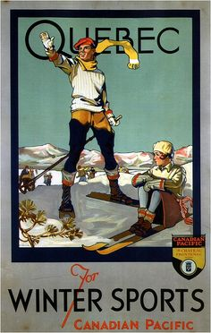 Quebec for Winter Sports - Canadian Pacific - Retro travel Poster - Vintage Poster by Studio Grafiikka Ski Vintage, Vintage Ski Posters, Retro Poster, Vintage Couples, Vintage Fishing, Print Poster, Canadian Pacific Railway, Canadian Travel, Canadian Winter