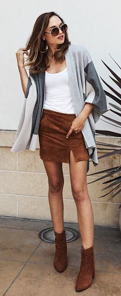 #summer #outfits Grey Cardigan + White Tee + Brown Skirt + Brown Booties