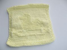 Hand Knit Yellow Duckie Baby Wash Cloth