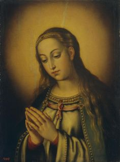 """The Virgin Mary Praying // Spain, Circa 1600-1603// Sánchez Cotán, Juan. 1560-1627 // The State Hermitage Museum // """"We believe that the Holy Mother of God, the new Eve, Mother of the Church, continues in heaven to exercise her maternal role on behalf of the members of Christ"""" (Paul VI, CPG § 15)._ (CCC 975) // #VirginMary #prayer"""