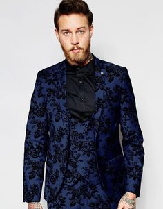Noose & Monkey Suit Jacket with Stretch And Floral Flocking in Super Skinny Fit
