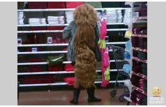 People with hellava hair at Walmart