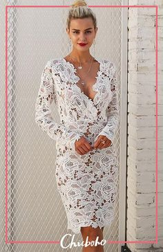 V Neck Long Sleeve Lace Bodycon Midi Dress Casual Dresses, Fashion Dresses, Lace Dresses, Midi Dresses, Modest Dresses, Dress Lace, Wedding Dresses, Cheap Dresses Online, Trendy Clothes For Women